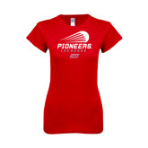 Next Level Ladies SoftStyle Junior Fitted Red Tee-Pioneers Lacrosse Modern
