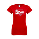 Next Level Ladies SoftStyle Junior Fitted Red Tee-Pioneers Baseball Script w/ Plate