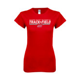 Next Level Ladies SoftStyle Junior Fitted Red Tee-Track & Field w/ Bar