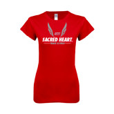 Next Level Ladies SoftStyle Junior Fitted Red Tee-Sacred Heart Track & Field Abstract Wings