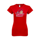 Next Level Ladies SoftStyle Junior Fitted Red Tee-Secondary Logo