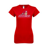 Next Level Ladies SoftStyle Junior Fitted Red Tee-Pioneers w/ Pioneer