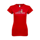 Next Level Ladies SoftStyle Junior Fitted Red Tee-Sacred Heart w/ Pioneer