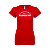 Next Level Ladies SoftStyle Junior Fitted Red Tee-Pioneers Football Horizontal