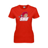 Ladies Red T Shirt-Secondary Logo
