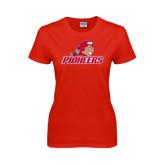 Ladies Red T Shirt-Pioneers w/ Pioneer