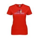 Ladies Red T Shirt-Sacred Heart w/ Pioneer