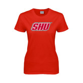 Ladies Red T Shirt-Primary Logo Distressed
