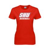 Ladies Red T Shirt-Baseball