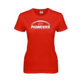 Ladies Red T Shirt-Pioneers Football Horizontal