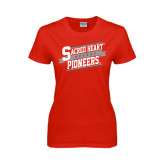 Ladies Red T Shirt-Sacred Heart Hockey Slanted w/ Banner