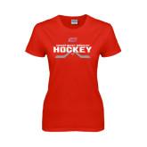 Ladies Red T Shirt-SHU Hockey Crossed Sticks