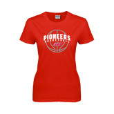 Ladies Red T Shirt-Pioneers Basketball Arched w/ Ball