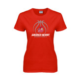 Ladies Red T Shirt-Sacred Heart Basketball Stacked