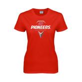 Ladies Red T Shirt-Pioneers Geometric Lacrosse Head