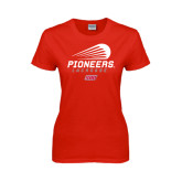 Ladies Red T Shirt-Pioneers Lacrosse Modern