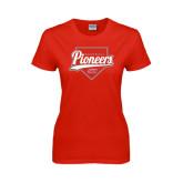Ladies Red T Shirt-Pioneers Baseball Script w/ Plate