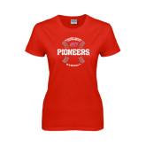Ladies Red T Shirt-Pioneers Baseball Seams