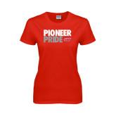 Ladies Red T Shirt-Pioneer Pride