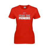 Ladies Red T Shirt-Fear The Pioneers