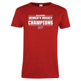 Ladies Red T Shirt-2018 Womens Hockey Champions