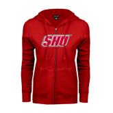 ENZA Ladies Red Fleece Full Zip Hoodie-Primary Logo