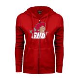 ENZA Ladies Red Fleece Full Zip Hoodie-Secondary Logo