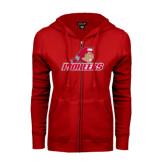 ENZA Ladies Red Fleece Full Zip Hoodie-Pioneers w/ Pioneer