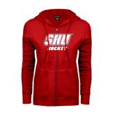 ENZA Ladies Red Fleece Full Zip Hoodie-Hockey