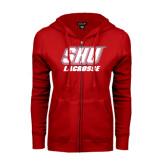 ENZA Ladies Red Fleece Full Zip Hoodie-Lacrosse
