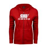 ENZA Ladies Red Fleece Full Zip Hoodie-Track & Field