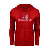 ENZA Ladies Red Fleece Full Zip Hoodie-Sacred Heart w/ Pioneer