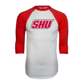 White/Red Raglan Baseball T-Shirt-Primary Logo