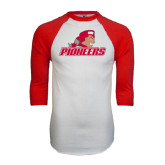 White/Red Raglan Baseball T-Shirt-Pioneers w/ Pioneer