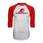 White/Red Raglan Baseball T-Shirt-Sacred Heart w/ Pioneer