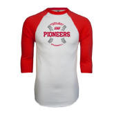 White/Red Raglan Baseball T-Shirt-Pioneers Baseball Seams