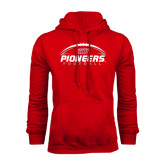 Red Fleece Hoodie-Pioneers Football Horizontal