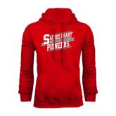 Red Fleece Hoodie-Sacred Heart Hockey Slanted w/ Banner
