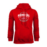 Red Fleece Hoodie-Pioneers Basketball Arched w/ Ball