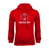 Red Fleece Hoodie-Sacred Heart Basketball Stacked