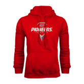 Red Fleece Hoodie-Pioneers Geometric Lacrosse Head