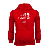 Red Fleece Hoodie-Pioneers Lacrosse Modern
