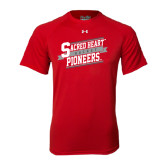 Under Armour Red Tech Tee-Sacred Heart Hockey Slanted w/ Banner