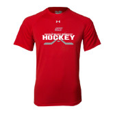 Under Armour Red Tech Tee-SHU Hockey Crossed Sticks