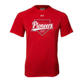 Under Armour Red Tech Tee-Pioneers Baseball Script w/ Plate