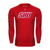 Under Armour Red Long Sleeve Tech Tee-Primary Logo