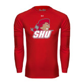 Under Armour Red Long Sleeve Tech Tee-Secondary Logo