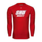 Under Armour Red Long Sleeve Tech Tee-Hockey