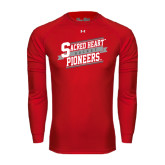 Under Armour Red Long Sleeve Tech Tee-Sacred Heart Hockey Slanted w/ Banner