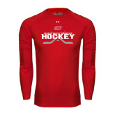 Under Armour Red Long Sleeve Tech Tee-SHU Hockey Crossed Sticks